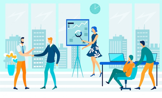Öffnen sie die flache illustration des office-workflows