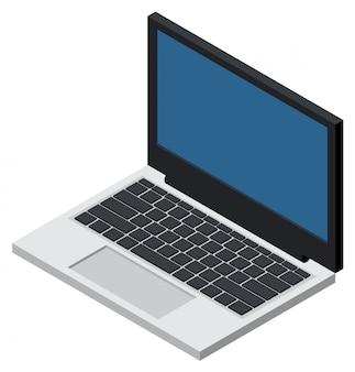 Öffnen sie die isometrische ikone des laptops, die auf weiß lokalisiert wird