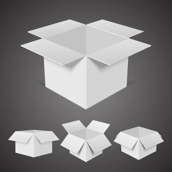 Öffnen sie die isometrische vorlage für pappkartons. leerer weißer behälter