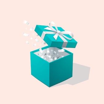 Öffnen sie die rote geschenkbox und konfetti. weihnachtshintergrund. vektor-illustration.