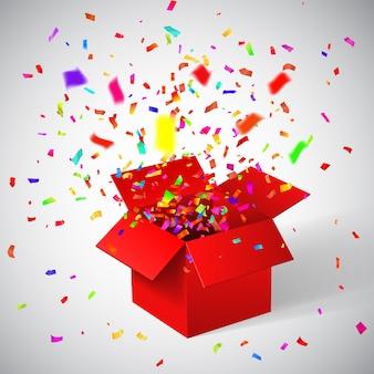Öffnen sie die rote geschenkbox und konfetti. weihnachtshintergrund.