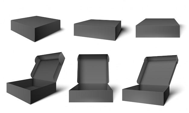 Öffnen sie die schwarze verpackungsbox. geöffnete und geschlossene schachteln aus dunklem karton, illustrationsset für verpackungsvorlagen