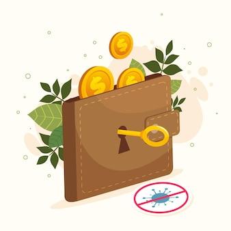 Öffnen sie die wirtschaft nach dem coronavirus mit brieftasche und schlüssel wieder