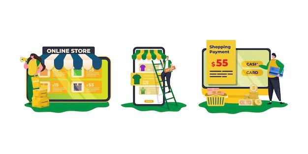 Öffnen sie ein online-shop-promotion- und zahlungsmethode-illustrationsset
