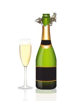 Öffnen sie eine flasche champagner- und champagnerglas auf weißem hintergrund. vektor-illustration