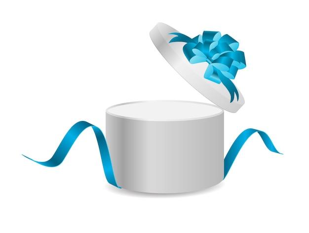 Öffnen sie geschenkbox mit band und magic light fireworks vector illustration.