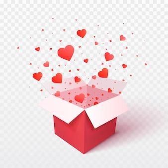 Öffnen sie geschenkbox mit herzformkonfetti-explosionsexplosion. 3d valentinstag. romantisches geschenk