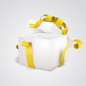 Öffnen sie leere geschenkbox 3d mit gelbem farbband