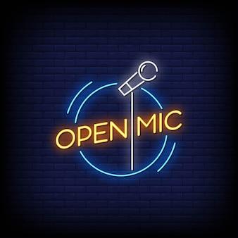 Öffnen sie mic neon signs style text