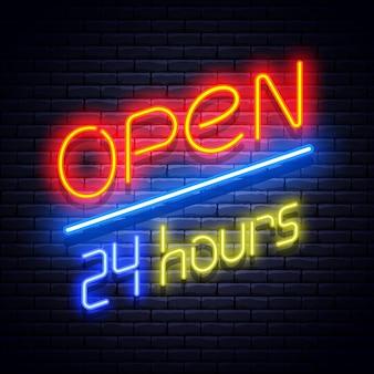 Öffnen sie neon leuchtendes schild an der mauer. illustration.