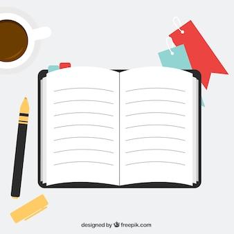 Öffnen sie notizbuch in flacher bauform mit elementen