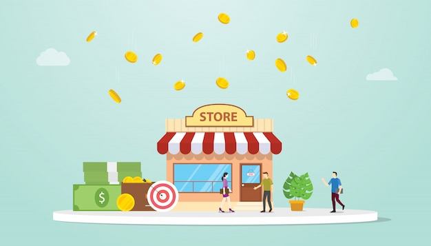 Öffnen sie offline-shop oder shop-geschäftsgebäude-konzept mit teamleuten