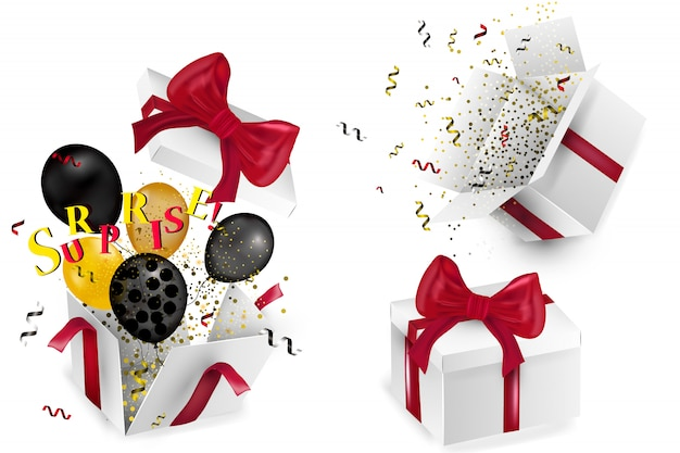 Öffnen sie realistische geschenkbox mit roter schleife, luftballons und bunten konfetti, auf weißem hintergrund mit schatten. illustration.
