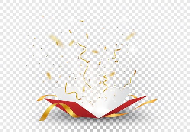 Öffnen sie rotes kästchen mit goldener konfetti-explosion