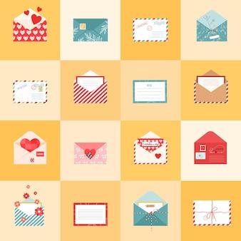 Öffnen sie umschlagsymbole und postkarten für verschiedene feiertage im flachen stil