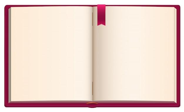 Öffnen sie unbelegtes buch mit rotem farbbandbookmark