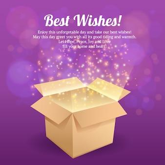 Öffnen sie vektorillustration der besten wünsche der kartongeschenkbox