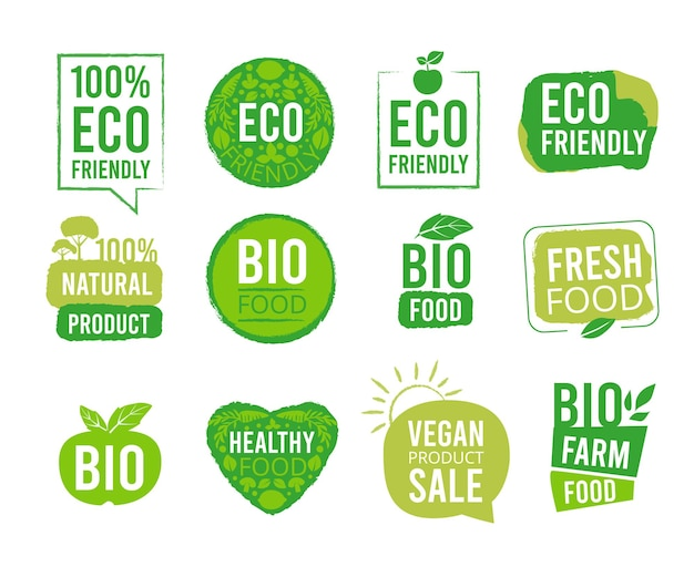 Öko-aufkleber. vegetarische natürliche gesunde lebensmitteletiketten für marktpakete frische ökologie-markierungsprodukte vektor-abzeichen. marktabzeichen frisch, bio-stempelmarkierungsillustration