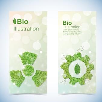 Öko-banner mit bio-power-symbolen isoliert
