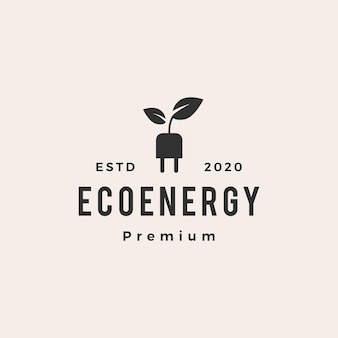 Öko-energie-hipster-weinleselogo-vektorikonenillustration