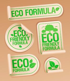 Öko-formel, umweltfreundliche aufkleber gesetzt