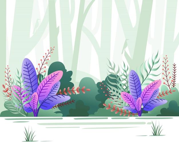 Öko grüne naturwaldhintergrundschablone. grüner wald mit bäumen und vögeln. illustration