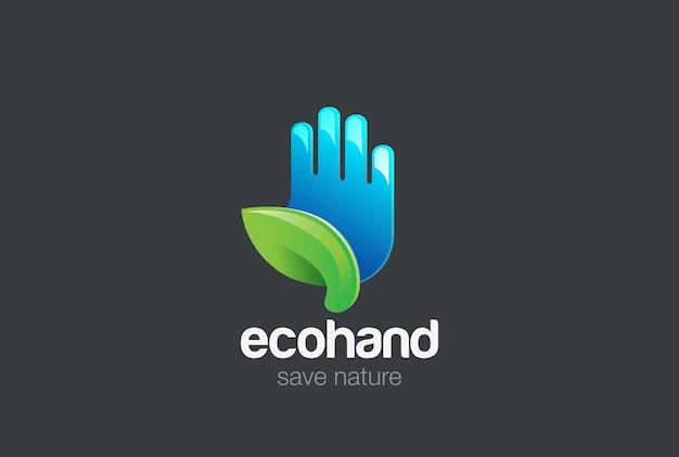 Öko-hand mit grünem blatt-logo