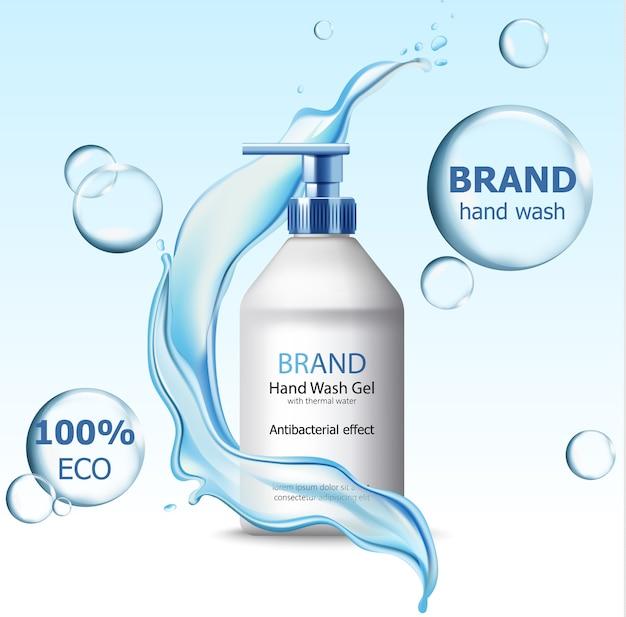 Öko-handwaschgel mit antibakteriellem wirkstoffbehälter, umgeben von blasen und fließendem wasser