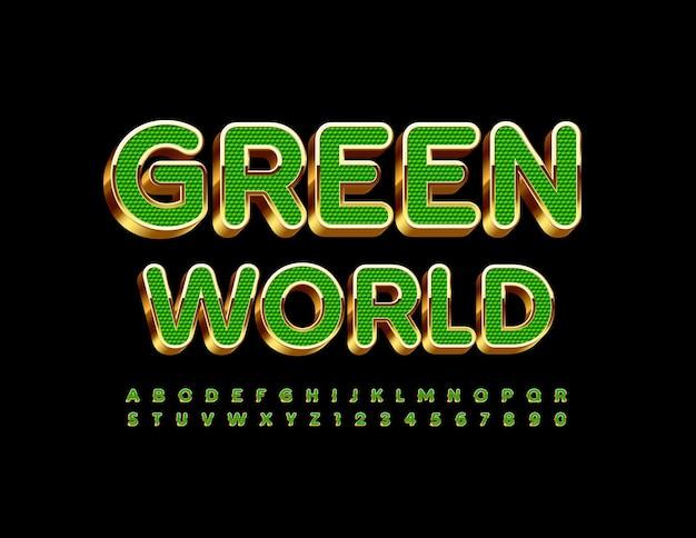 Öko-konzept green world strukturierte grüne und goldene schrift 3d-alphabet buchstaben und zahlen gesetzt