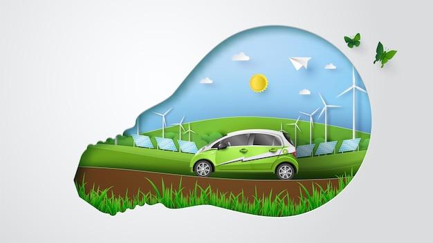 Öko-konzept mit grüner energie, elektroauto, windmühle, solarzelle. papierschnittillustration