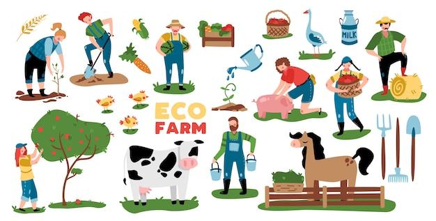 Öko-landwirtschaftssatz von isolierten bildern mit pflanzen-nutztierausrüstung und gekritzelzeichen der vektorillustration der leute