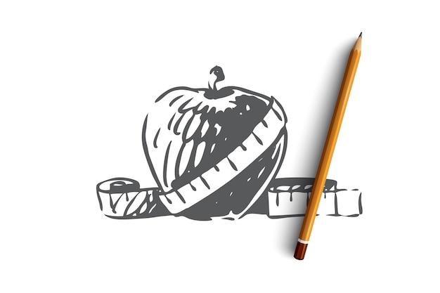 Öko, lebensmittel, apfel, natur, bio-konzept. hand gezeichneter frischer apfel mit messwerkzeugkonzeptskizze. illustration.