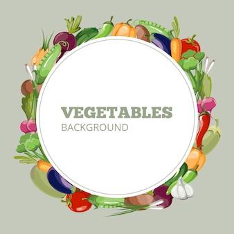Öko-lebensmittel-menü mit cartoon-gemüse. emblem für bioladen gesundes oder vegetarisches café