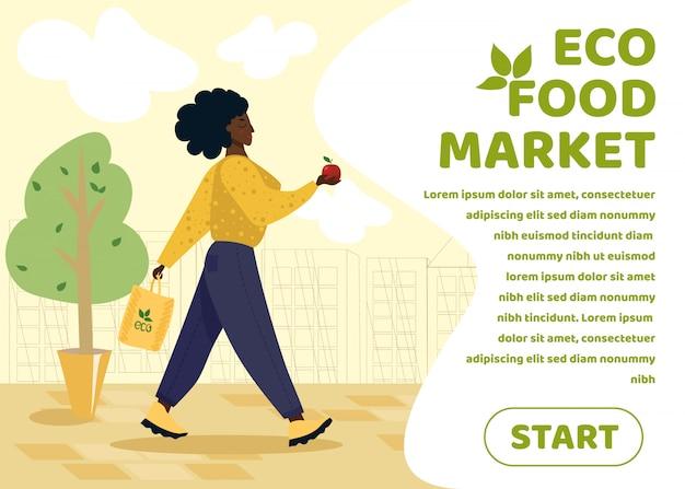 Öko-lebensmittelmarkt banner mit frau holding apple