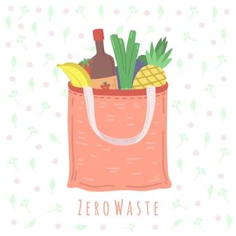 Öko-lebensmitteltasche. lebensmittelgeschäft-paket, zero-waste-einkaufskonzept textilverpackungen. keine plastische, vegane bio-lifestyle-vektorillustration. recycling-biobeutel für lebensmittel, öko und zero waste