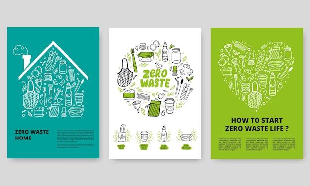 Öko-poster mit doodle-elementen
