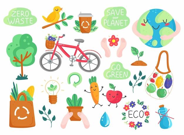 Öko-set im niedlichen stil der karikatur. sammlung umweltfreundlicher designelemente
