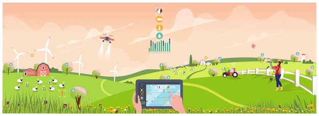 Öko-smart-farming-management mit internet-of-thing-system (iot)