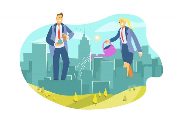 Öko-stadt, immobilien, geschäft, investition, verbesserungskonzept