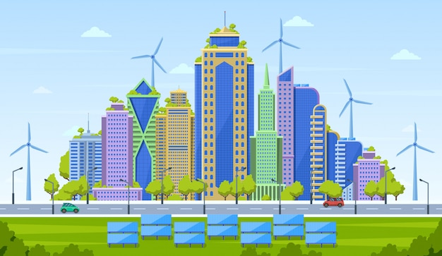 Öko-stadt-konzept. intelligente stadtlandschaft, modernes stadtbild der stadt, umweltfreundliche wolkenkratzer mit illustration alternativer energiequellen. wolkenkratzer des architekturgebäudes, grüne freundliche landschaft