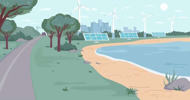 Öko-stadt mit flachen cartoon-design-vektor-ökologie-freundliche umwelt aus erneuerbaren energiequellen