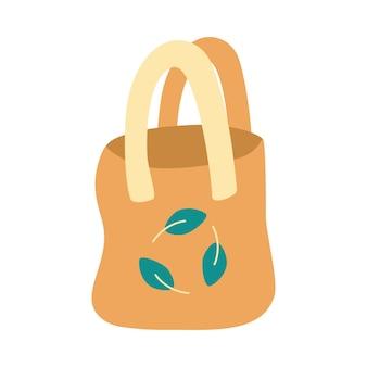 Öko-tasche aus baumwolle. keine plastiktüte verwenden sie ihre eigene öko-tasche, verpackung mit recycling-zeichen. flache vektorillustration.