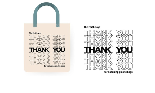Öko-tasche. konzept wiederverwenden. vielen dank, dass sie keine plastiktüte verwenden.