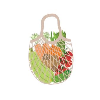 Öko-tasche voller gemüse