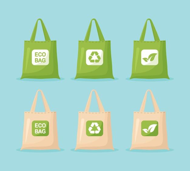 Öko-taschen aus stoff. keine plastiktüte verwenden sie ihr eigenes umweltfreundliches paket