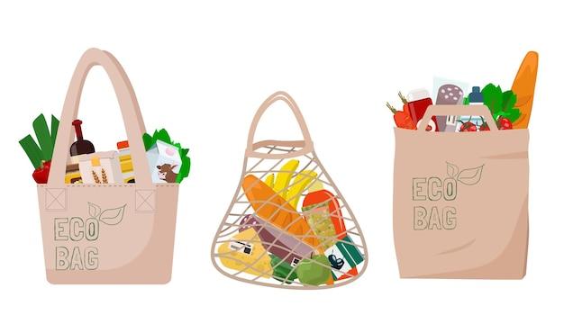 Öko-taschen mit lebensmitteleinkäufen. die verpackung besteht aus natürlichen recycelten materialien.