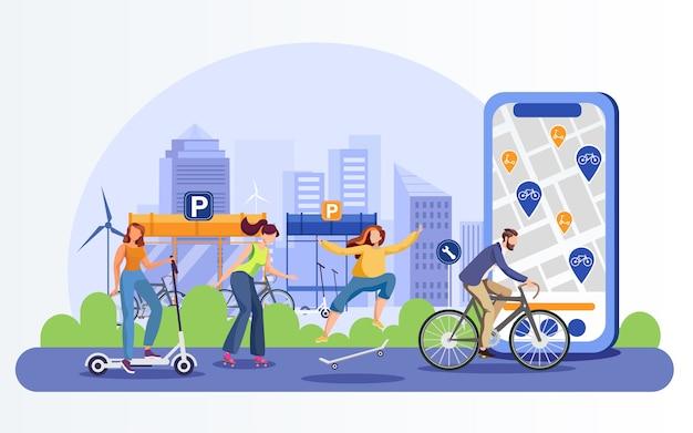 Öko-transport. menschen mit modernen stadtverkehrscharakteren. kick scooter, rollschuhe, skateboard, fahrrad. aktive jugend mit ökologischen fahrzeugen auf der straße