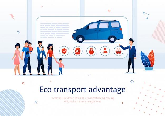 Öko-transport-vorteil. verkäufer presentation zur karikatur-familien-ökologischen minivan-vektor-illustration