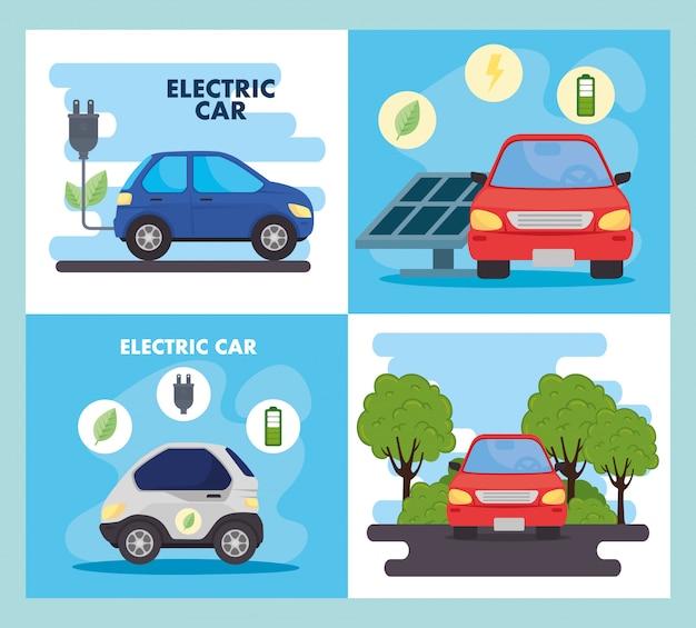 Öko- und elektroautos mit stecker- und solarpanel-vektordesign