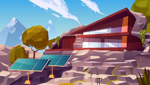 Ökohaus der organischen architektur mit sonnenkollektoren